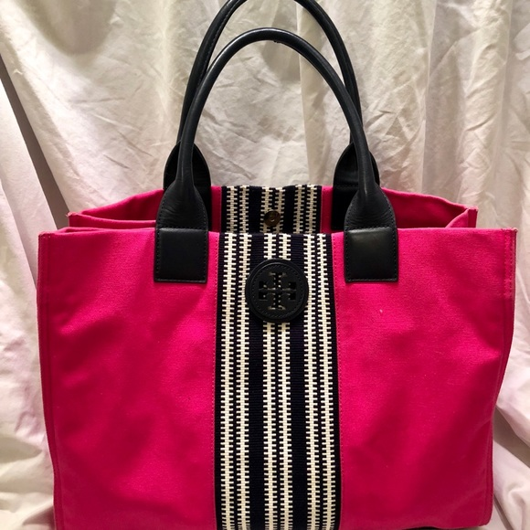 65fccd4c0ca Tory Burch Ella Striped Canvas Tote Bag